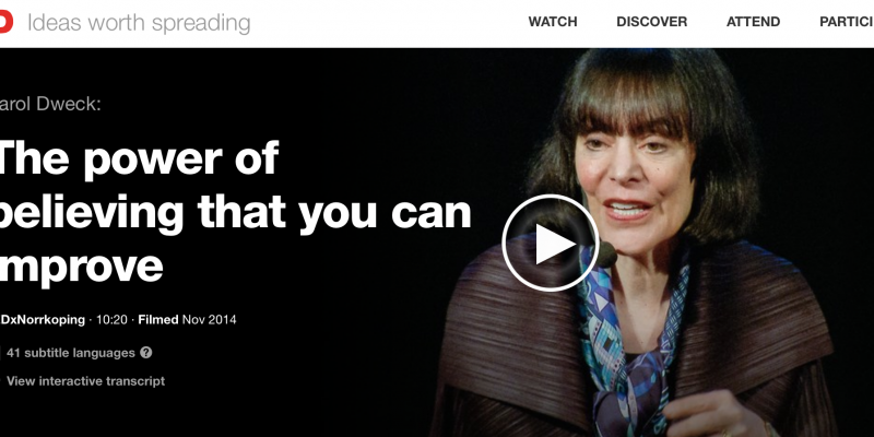 Watch the full video here: http://www.ted.com/talks/carol_dweck_the_power_of_believing_that_you_can_improve?language=en#t-242359